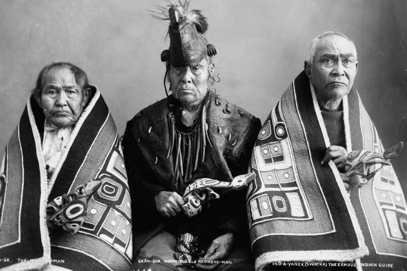 New 5x7 Native American Photo: Three brothers, Kak-Von-Tons of Chilkat Tribe