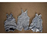 0-3 months boys clothes bundle (3 dungarees)