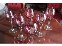 Set of six wine goblets