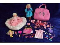 Vintage Glitter Hair Barbie Mattel 1993 + Diff Dolls, Clothes, Fairy & Bundle Pink of Bits in Bags
