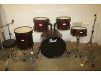 Pearl Forum Wine Red 5 Piece Full Drum Kit (22in Bass) + All Stands + Stool + Cymbal Set