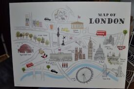 Large London Stretched Canvas Print - Map Of London, Alice Tait