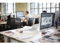 Desk spaces available in 'Light, Airy & Modern' warehouse conversion, open plan studio.