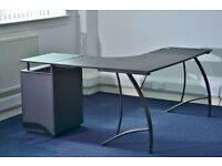 L shaped office desk with 3 drawer pedestal and lock