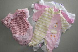 Bundle for Newborn tiny baby girl PINK (bodysuits + sleep suits)