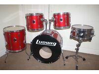 Vintage 1980s Ludwig Rocker Red 5 Piece Drum Kit - DRUMS ONLY