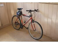 Mountain bike (10 gears), crash hat & security cord FOR SALE - £25.00 (or nearest offer)
