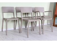 DELIVERY OPTIONS - 6 GREY PLASTIC GREY STACKING RECEPTION CHAIRS OFFICE
