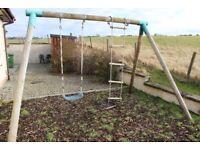 Children's Swing Set: Wooden and Heavy Duty