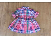 Pink checks dress with ruffled collar w/ Matching panty for 3 & 6 months baby
