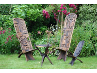 Malawi Bantu Mpingo Wood Chairs and side table