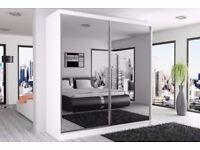 Same Day Delivery Modern Design High Quality 2 sliding door wardrobe BERLIN 180 wide mirrored