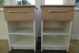 2-Bedside Cabinets with light oak tops and drawer fronts with white carcases.