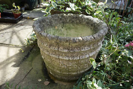 Garden Feature Cement Coopered Barrel Plant Pot, two available