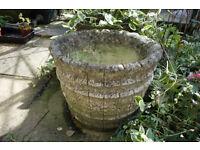 Garden Feature Cement Coopered Barrel Plant Pot