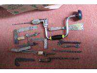 Random vintage hand tools -- Brace & 5 bits Squares Calipers etc etc