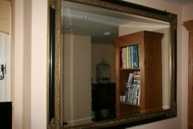 Pretty Vintage Large Rectangular Black and Gold Wall Mirror