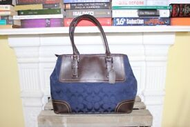 Coach Genuine Navy Blue Brown Leather Bag Purse Signature Contrast Stitching Designer