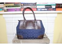 Coach Genuine Navy Blue Brown Leather Bag Purse Signature Contrast Stitching Designer