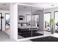 ❤Premium Quality❤Clearance Stock❤ New German Full Mirror 2 Door Sliding Wardrobe w/ Shelves, Hanging