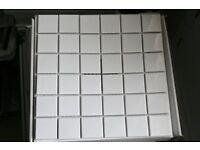 Gloss white mosaic tiles - 5 x 5cms tiles on 30 x 30cms sheet - 197 sheets - appx. 18sq mt