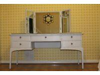 For Sale Stag Minstrel Vintage 5 Drawer Dressing Table Restored in Very Light Grey