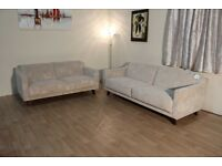 Ex-display G Plan Vintage style cream jazz oyster fabric 3+2 seater sofas