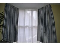 Delightful handmade (Mulberry fabric) lined striped curtains, suit bay window