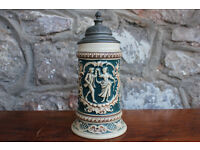 Original Antique German Lidded Beer Stein Marzi & Remy No 225 Early 20th Century 350ml
