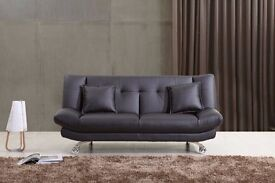 Stylish Leather Sofa bed with 2 free cushions, Available in Black, Brown & Red, Free delivery,