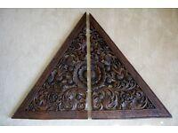 Triangular Thai Hand-carved Wooden Panels (Pair)