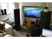 Onkyo reciever, wharfdale speakers & tannoy subwoofer