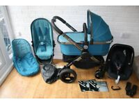 iCandy Peach 3 Peacock teal pram pushchair + car seat travel system 3 in 1 CAN POST