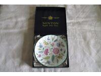 MINTON HADDON HALL ENGLISH BONE CHINA PLATE 11CM DIAM IN ORIGINAL BOX