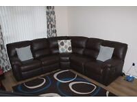 Littlewoods Brown Leather manual Corner Sofa Chocolate and electric armchair recliner