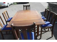 Vintage Solid Wood Dining Table and x6 Chairs - £250