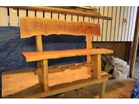 Handmade rustic yew/oak bench