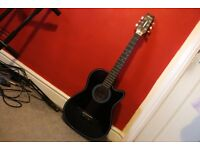 Black Acoustic Guitar (beautiful sound) Great for Beginners!