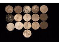 Olimpic Games, Beatrix Potter, WWF etc rare 50p coins for sale