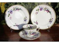 Vintage Paragon China Trio & Side Plate Unusual Handpainted Purple Bird Flower Cup Antique