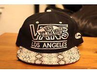 Black Snakeskin Vans Snapback Hat Cap: Los Angeles LA, Off the wall. Unisex.