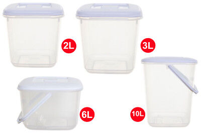 PLASTIC FOOD CANISTER STORAGE CONTAINER - WITH/WITHOUT HANDLES - STRONG - CHEAP