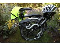 Black Brompton M3L 11 Folding Bike with Helmet and Hi-Vis Jacket (Nearly New)