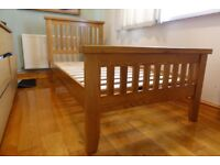 SOLID OAK SINGLE BED FRAME WITH MEMORY FOAM MATTRESS- LIKE NEW! HARDLY USED TOP QUALITY SOLID BED.