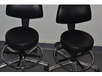 4 faux leather round office chairs