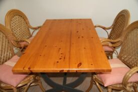 Pine table and 4 bamboo/wicker chairs with cushions