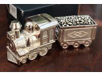 New Unused Silver Plated Steam Train Money Box