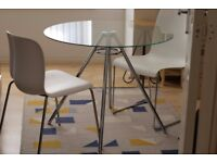 Glass dining table with chairs (optional)