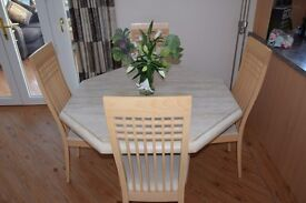 marble octagonal ding table 46 x 46 x 29 high plus 4 chairs plus matching coffee table