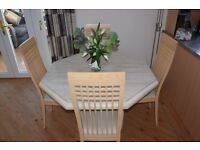 marble octagonal ding table 46 x 46 x 29 high plus 4 chairs plus matching coffee table £395 ono